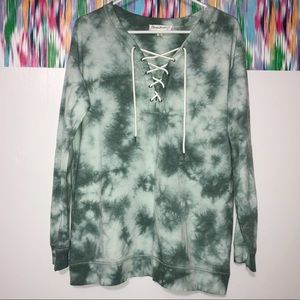 Cloud chaser green tie-dyed long sleeve shirt